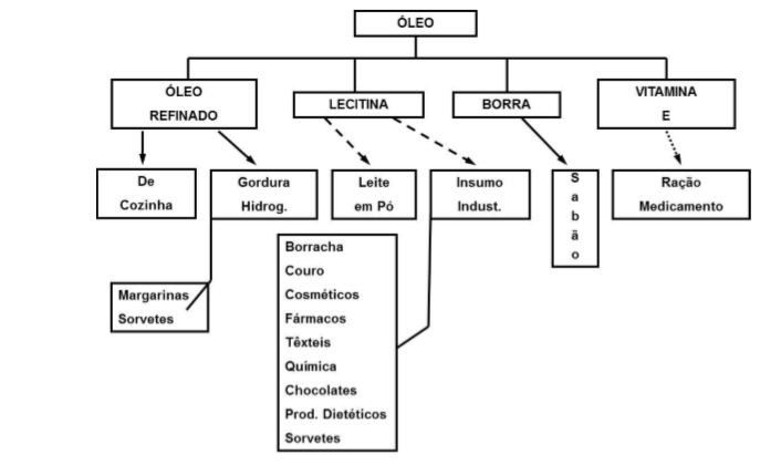 Figura 3 - Produtos derivados de óleo. Subprodutos da cultura da soja. Fonte: Agronegócio da Soja.