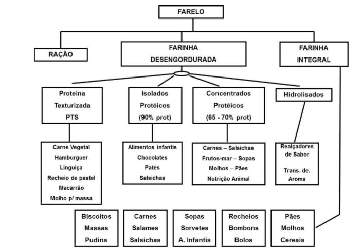 Figura 2 - Produtos derivados de farelo. Subprodutos da cultura da soja. Fonte: Agronegócio da Soja.