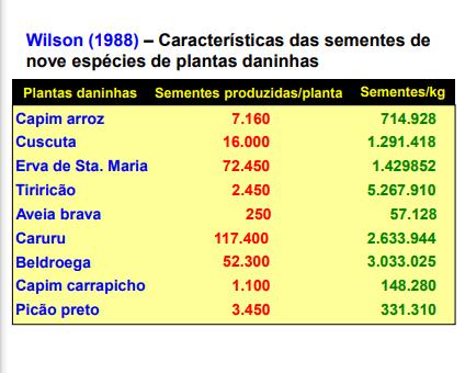 Figura 1- Tabela de plantas e sua produção de sementes. Fonte: Mecanismos de sobrevivência.