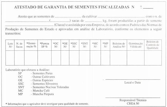 Figura 2- Atestado de garantia do lote de sementes. Fonte: Embrapa.