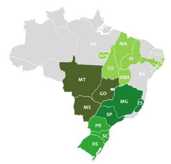 Figura 3. Abrangência geográfica (dentro da porteira – agricultores e pecuaristas).