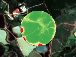 Exemplo de mapa de índice de atividade fotossintética da cultura da soja por meio de sensoriamento remoto. Fonte: Agrosmart.
