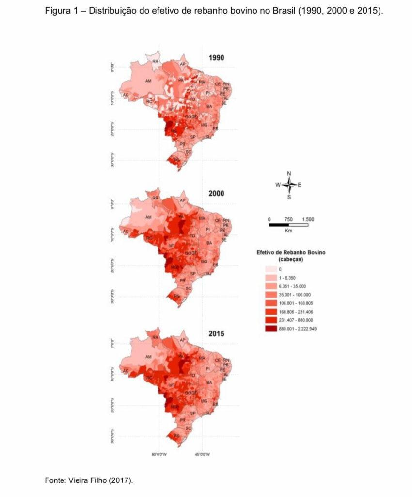 Distribuição do Rebanho bovino no Brasil (1990, 200, 2015). Fonte: Vieira Filho (2017).