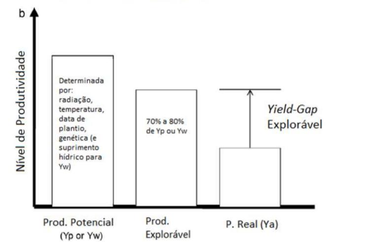 Figura 1 - Gráfico demonstrativo de Yield Gap e sua relação com a produtividade da lavoura. Fonte: Meteorologia Agrícola ESALQ-USP.