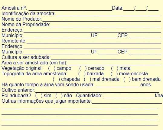 Figura 2: Ficha cadastral das amostras. Fonte: CNPAT .