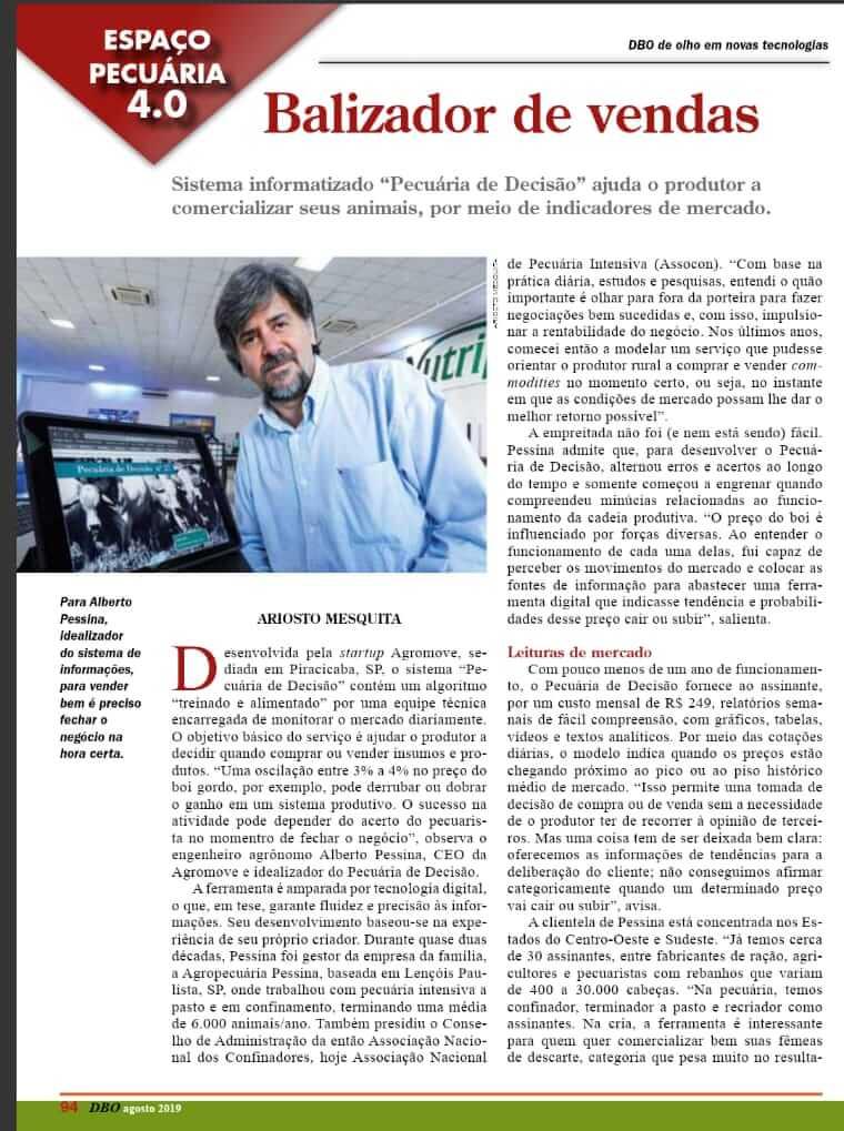 Pecuária de Decisão na Revista DBO - Agosto/2019.