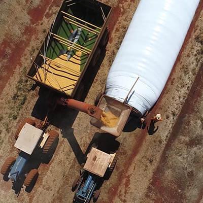 Armazenamento em silo bolsa. Foto: IpesaSilo.