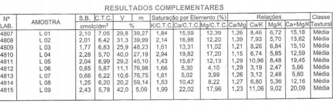 """Figura 2: Informações complementares """"Solo Análise"""", para a interpretação da análise de solo. Fonte: Arquivo Agromove."""